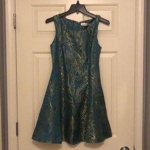 Peacock brocade A line dress
